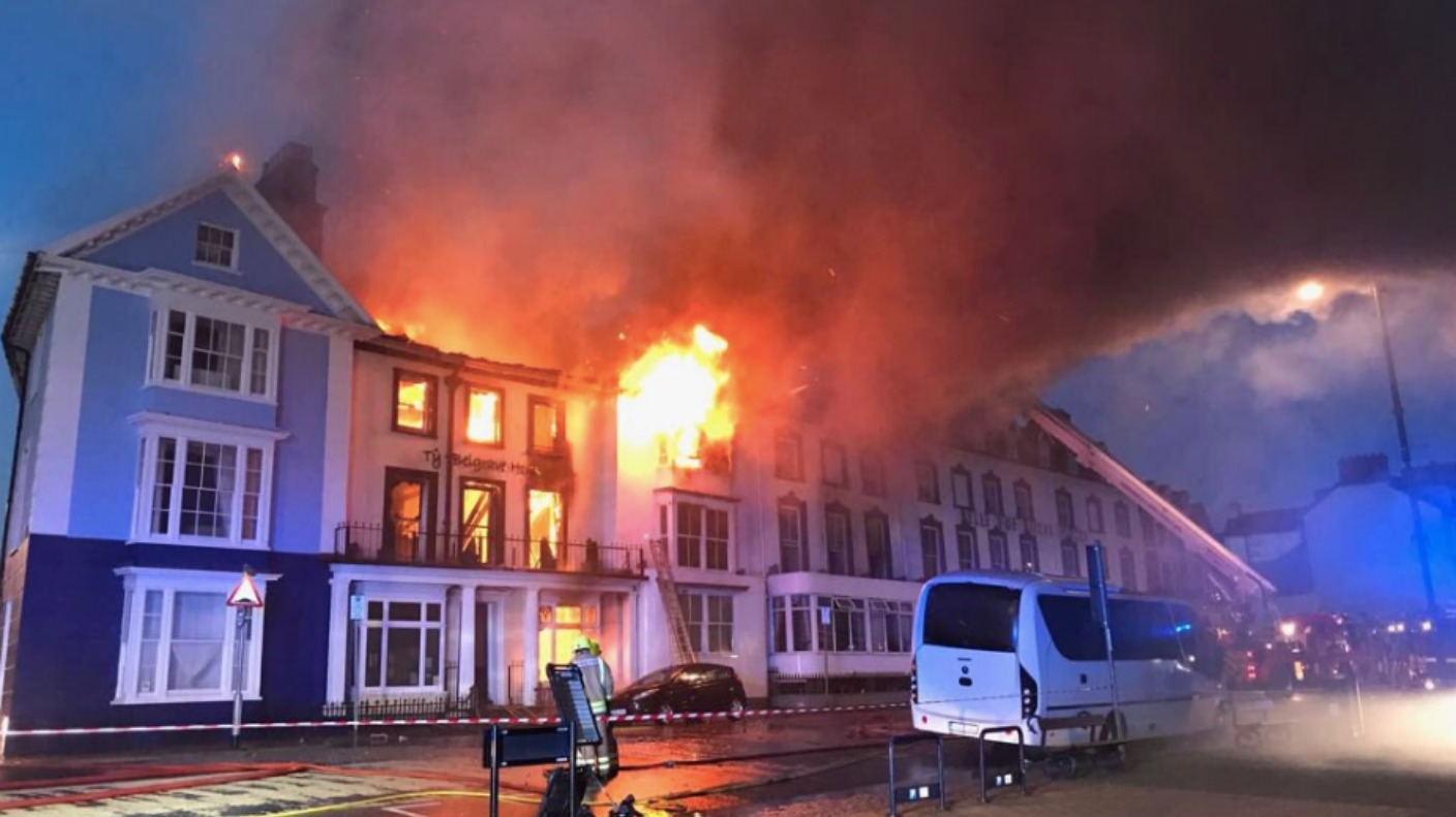 one still missing after large fire at aberystwyth hotel