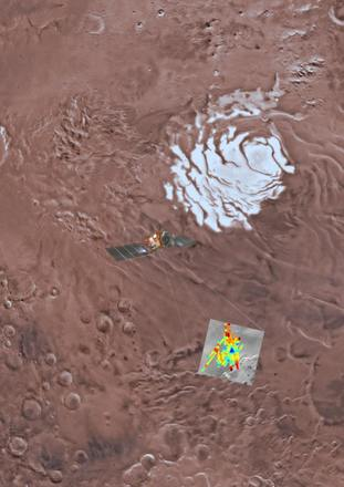 Artist's impression of the Mars Express spacecraft probing the southern hemisphere of Mars.