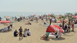A beach in Clacton-on-Sea in Essex proving to be a popular hot spot during the heatwave.