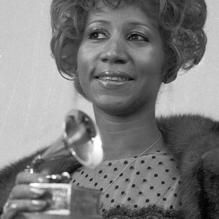 Aretha with her 1972 Grammy Award - one of 18 she won.