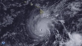 Satellite image showing Hurricane Lane off Hawaii.