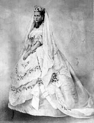 Princess Alexandra in her wedding dress