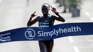 Vivian Cheruiyot wins the Elite Women's race during the 2018 Simply Health Great North Run.