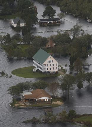 Houses are surrounded by water from Florence