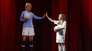 A young fan took a call with Manchester City and England Women's football captain Steph Houghton at the event.