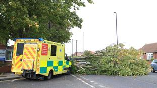 An ambulance which crashed into a fallen tree in Newcastle during Storm Ali.