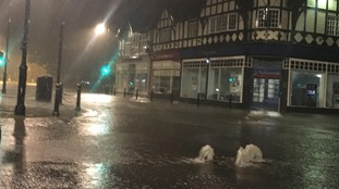 Flood alerts have been issued for parts of the region. Pictured: flooding in Matlock, Derbyshire.