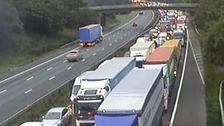 A man in his 30s was parked on the hard shoulder at the time of the crash on the M6.