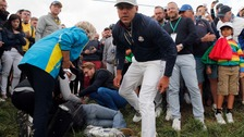 Brooks Koepka went to see the injured fan after she was hit by his shot.