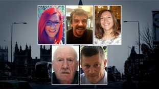The five victims of the Westminster attack: Andreea Cristea, Kurt Cochran, Aysha Frade, Leslie Rhodes and Keith Palmer.