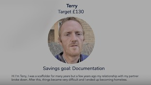 Scaffolder Terry's App profile shows he is saving for a passport.