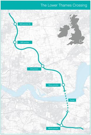 The route of the new crossing (Highways England/PA)