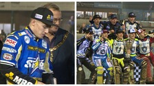 King's Lynn Stars collect their silver medals (left) as Poole Pirates (right) celebrate.