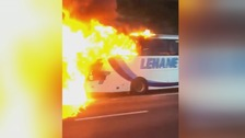 Passengers flee for their lives following coach fire on M2
