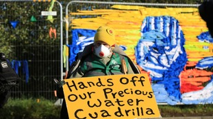 Fracking protesters outside energy firm Cuadrilla's site in Preston New Road, Little Plumpton, near Blackpool.