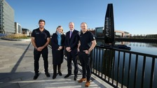 Artemis CEO Iain Percy, NI Secretary Karen Bradley, Belfast Harbour CEO Joe O'Neill, and Artemis Head of Innovation Mark Gillan