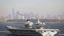 UK's new aircraft carrier HMS Queen Elizabeth arriving in New York City.