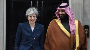 Saudi Arabia's crown prince Mohammad bin Salman is greeted by Prime Minister Theresa May at 10 Downing Street