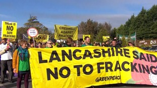More than 1,000 people have taken part in a march against fracking in Lancashire.