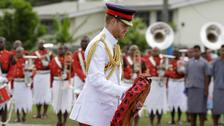 Prince Harry pays tribute to Fiji's fallen soldiers in solemn ceremony