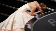 Jennifer Lawrence took a tumble at the 85th Annual Academy Awards.