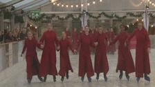 Skating choristers take to the ice in Winchester