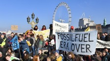 Hundreds block five bridges across London in climate change protest