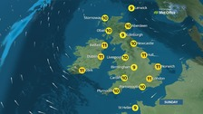 Dry, sunny day for most with fog and chilly winds in some areas