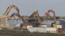 Demolition work on the bridge