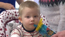 Henry Alderson (2) from Colchester is Essex has had 40 blood transfusions.