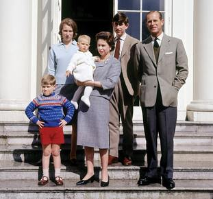 The Queen and Philip surrounded by their children – Andrew, Anne, Edward and Charles – on the monarch's 39th birthday in 1965
