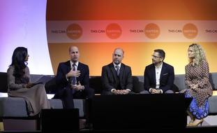 The Duke of Cambridge (second left) urged employers to look after the mental health of workers