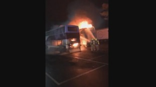 Fire destroys bus and lorry at Gretna services