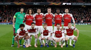 Arsenal team group before the Europa League, Group E match at the Emirates Stadium.