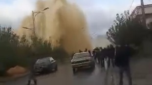 Burst pipe creates massive water fountain in Algerian town