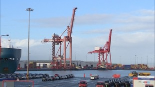 Dr Liam Fox spoke at the Royal Portbury Docks near Bristol.