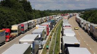 Lorries parked as part of Operation Stack along the M20 in Ashford, Kent