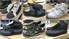Six of the 55 pairs of trainers which are set to be auctioned.