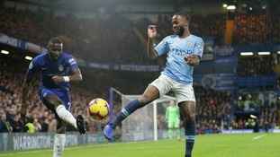 Chelsea's Antonio Rudiger, left, and Manchester City's Raheem Sterling compete for the ball.