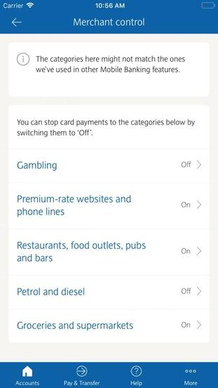 Barclays customers can control their spending on five retail categories within the mobile banking app