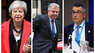 Brandon Lewis (centre) has said he will vote for Theresa May, but Bernard Jenkin (right) has said that he won't.
