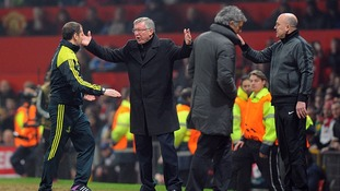 An angry Sir Alex Ferguson protesting after Luis Nani's sending off