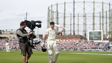 Cook leaves the field for the final time as an England batsman.