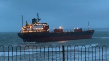 Russian cargo ship runs aground off Cornish coast