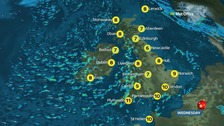 Showers in west and south will become heavy and blustery
