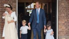 The Cambridge family at Prince Louis' christening.