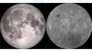 The difference between the near (left) and far side of the moon is visible.