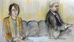 Court artist drawing of former energy secretary Chris Huhne and his ex-wife Vicky Pryce appearing in court together