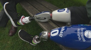 Blue and white prosthetic legs