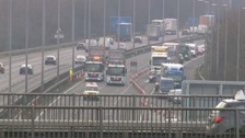 Pedestrian killed in M1 crash involving two lorries